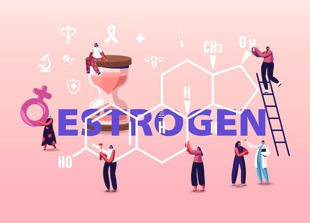 Concept de santé des hormones. les patients et le médecin de minuscules personnages féminins devant une énorme formule d'oestrogène.