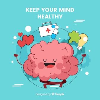 Concept de santé mentale dessiné main amusant