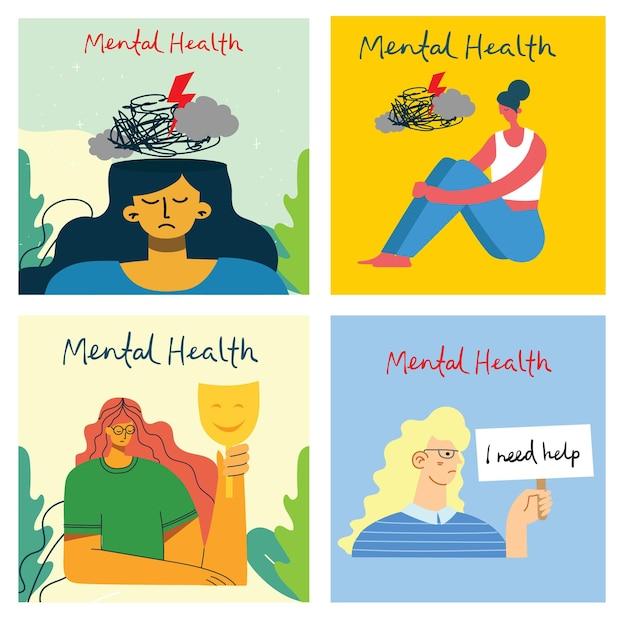 Concept de santé mentale. interprétation visuelle de la psychologie de la santé mentale dans le style plat
