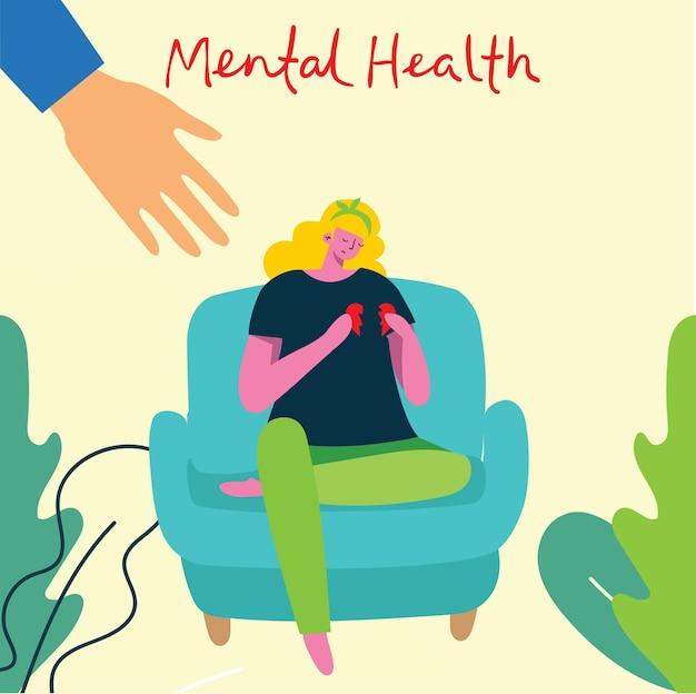 Concept de santé mentale. interprétation visuelle en psychologie de la santé mentale