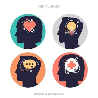 Concept de santé mentale moderne avec un design plat
