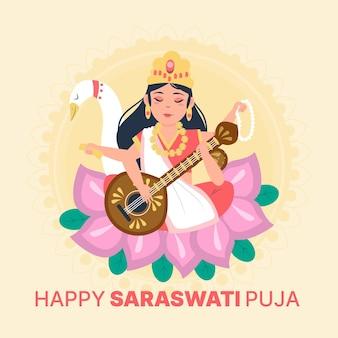 Concept de saraswati dessiné à la main