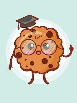 Concept de savant mignon biscuit choco chips. dessin animé
