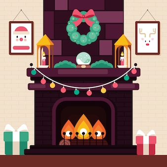 Concept de scène de cheminée de noël au design plat