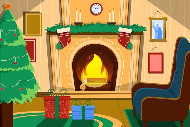 Concept de scène de cheminée de noël dessiné à la main