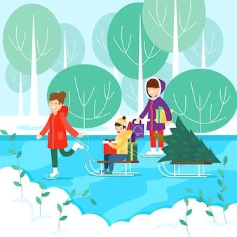 Concept de scène de famille de noël au design plat