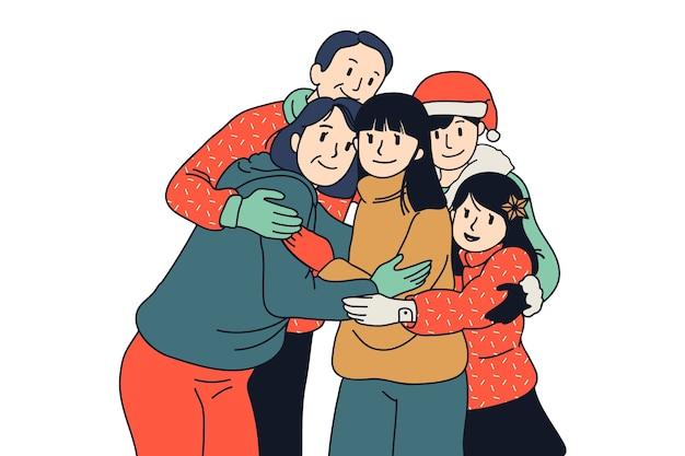 Concept de scène de famille de noël dessiné à la main