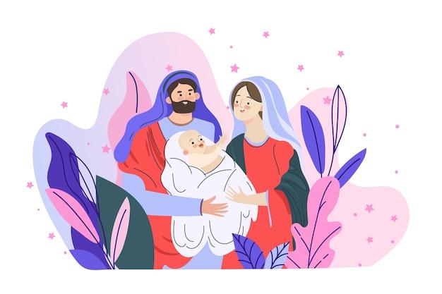 Concept de scène de la nativité dans dessinés
