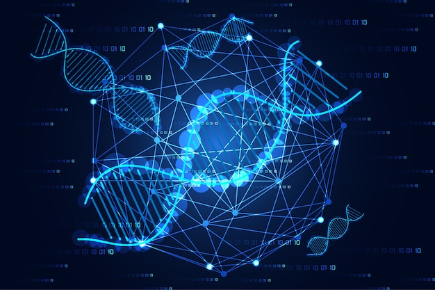 Concept de science abstraite science adn et lien numérique sur fond bleu salut tech