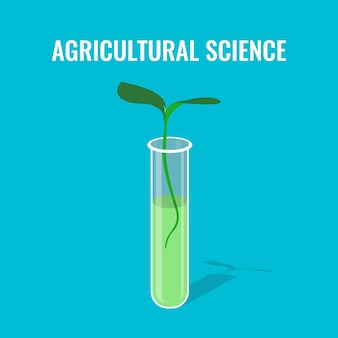 Concept de science agricole montrant la pousse dans un tube de verre