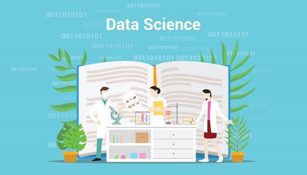 Concept de science des données avec une équipe de laboratoire