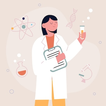 Concept de scientifique féminin pour illustration