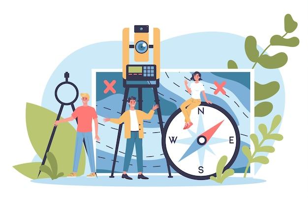 Concept scientifique de géodésie. technologie d'arpentage. matériel d'ingénierie et de topographie. les gens avec boussole et carte.