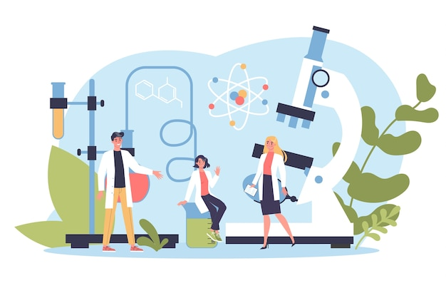 Concept scientifique. idée d'éducation et d'innovation. étudiez la biologie, la chimie, la médecine et d'autres matières à l'université.