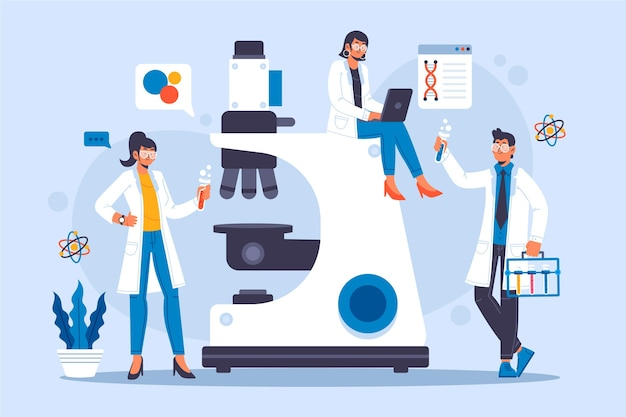 Concept scientifique avec microscope