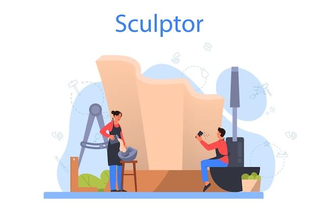 Concept De Sculpteur Professionnel Vecteur Premium