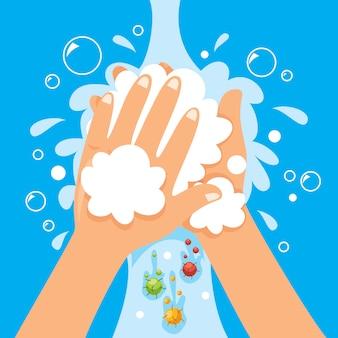 Concept de se laver les mains avec du savon