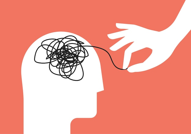 Concept de séance de thérapie psychologique avec silhouette de tête humaine et coup de main pour démêler l'enchevêtrement de pensées désordonnées avec trouble mental, anxiété et confusion, esprit ou stress