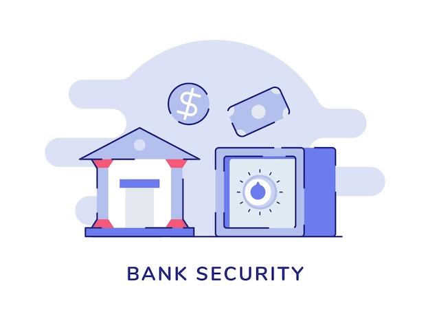 Concept de sécurité bancaire avec bâtiment et coffre-fort bancaire