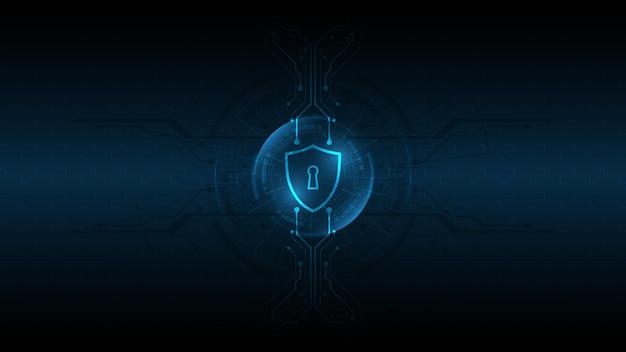 Concept de sécurité de bouclier de garde protégé 3d sécurité cyber numérique fond de technologie abstraite protéger l'illustration vectorielle de concept d'innovation de système