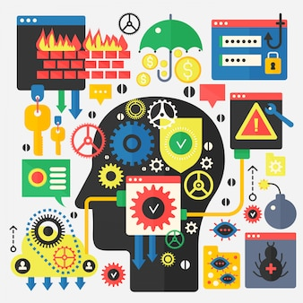 Concept de sécurité des communications en ligne, de protection des ordinateurs et de cybersécurité