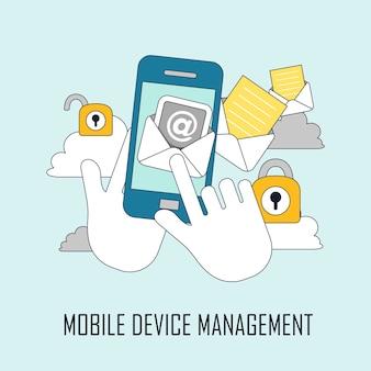 Concept de sécurité : gestion des appareils mobiles dans le style de ligne