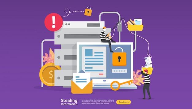 Concept de sécurité internet avec caractère de personnes. attaque par phishing par mot de passe. voler des données personnelles de données web