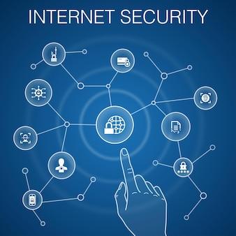Concept de sécurité internet, fond bleu. cybersécurité, scanner d'empreintes digitales, cryptage des données, icônes de mot de passe