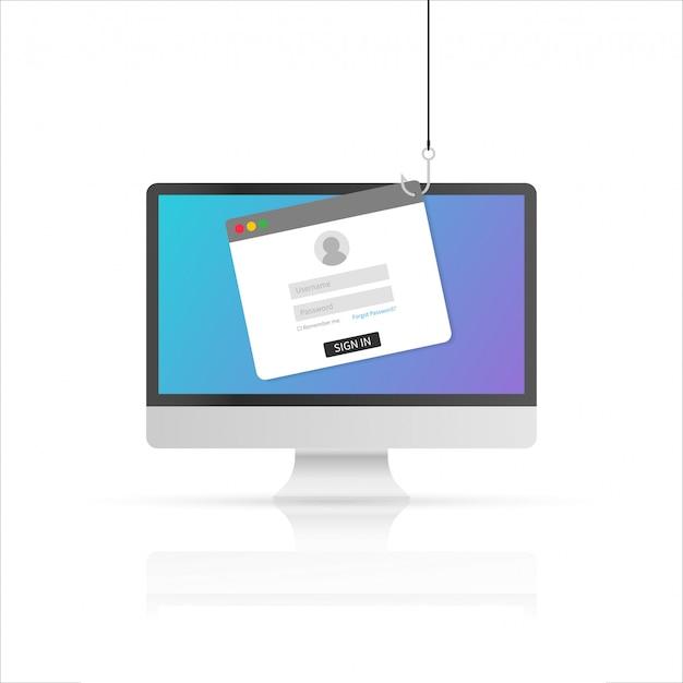 Concept de sécurité internet ordinateur. phishing sur internet, identifiant et mot de passe piratés. illustration vectorielle