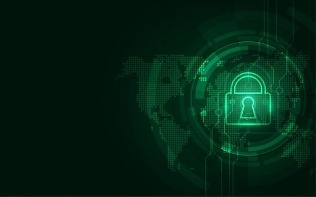 Concept de sécurité numérique cybernétique abstrait technologique protégeant l'innovation du système