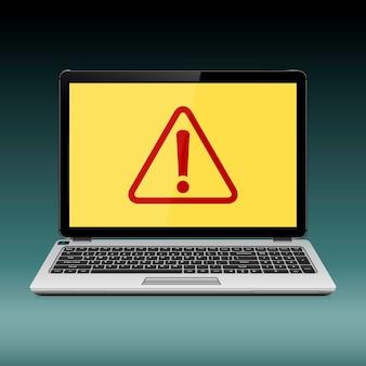 Concept de sécurité. ordinateur portable avec point d'exclamation sur l'écran