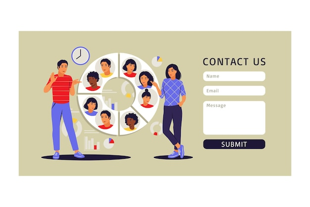 Concept de segmentation du public. formulaire de contact. personnes à proximité d'un grand graphique circulaire avec des images de personnes. illustration vectorielle. appartement.