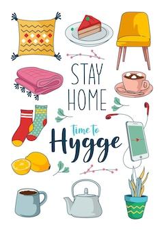 Concept de séjour à la maison avec divers personnages tels que des livres, des chaussettes, du café et d'autres