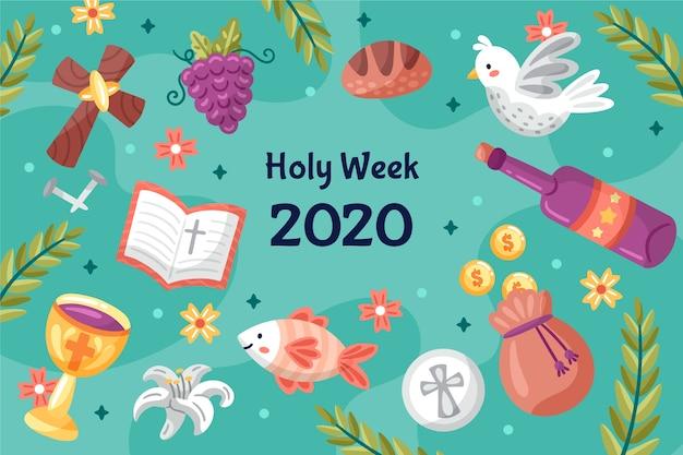 Concept de semaine sainte dessiné à la main