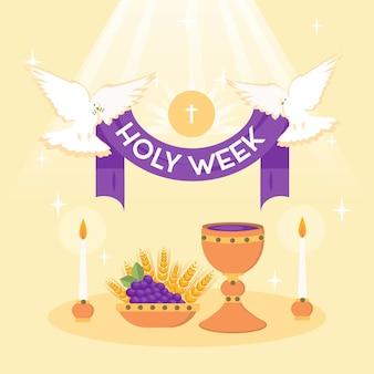 Concept de semaine sainte plat