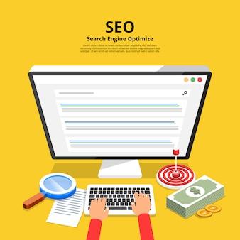 Concept seo (optimisation des moteurs de recherche). illustrer.