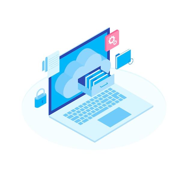 Concept de serveur de technologie d'entreprise isométrique de stockage de données cloud plat 3d.
