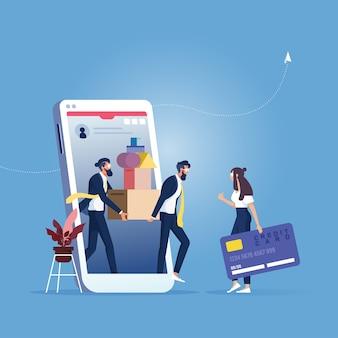 Concept de service d'achat et de livraison en ligne, femmes d'affaires, shopping en ligne par smartphone