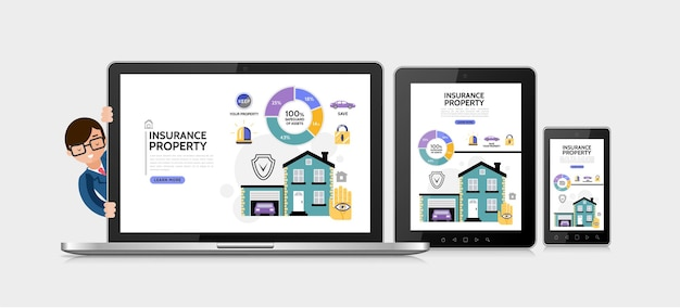 Concept de service d'assurance immobilier plat avec schéma de verrouillage de sirène de bouclier de voiture de garage immobilier