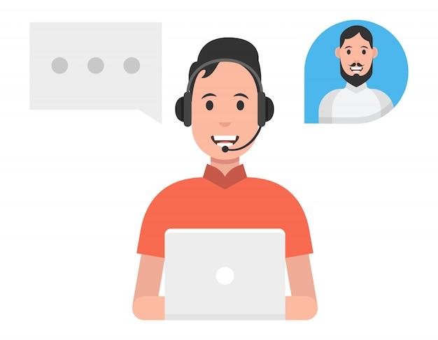Concept de service de centre d'appels. homme portant des casques d'écoute