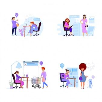 Concept de service à la clientèle, style plat, travail avec le personnel