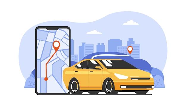Concept de service de covoiturage ou de taxi. illustration vectorielle.