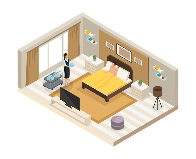 Concept de service hôtelier petit-déjeuner isométrique avec serveuse a apporté des plats au client dans la chambre isolée