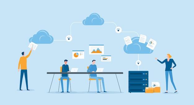 Concept De Service Informatique En Nuage De Technologie Commerciale Vecteur Premium