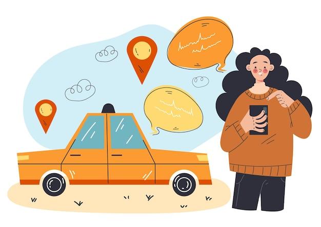 Concept de service en ligne urbain de ville de commande d'application mobile de taxi