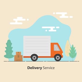 Concept de service de livraison. camions et cartons aux signes fragiles.
