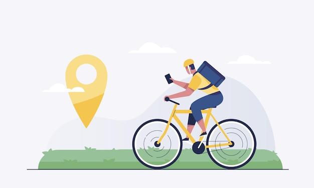 Concept de service de livraison. courrier sur la boîte à colis des porte-vélos au domicile du client.
