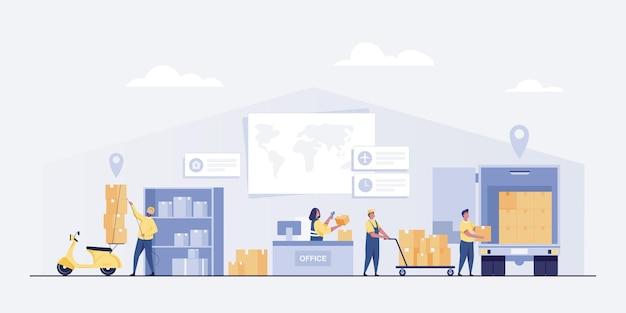Concept de service de livraison. entrepôt logistique ou bureau de livraison.