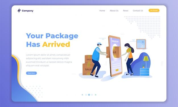 Concept de service de livraison d'envoi de colis à domicile sur un modèle de page de destination