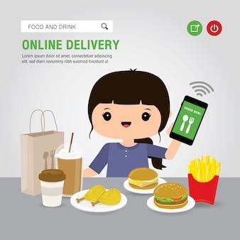 Concept de service de livraison en ligne cartoon illustration. main tenant l'application ouverte de téléphone intelligent mobile pour l'infographie de commande alimentaire en ligne. covid19. quarantaine dans la ville.